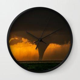 Silhouette - Large Tornado at Sunset in Kansas Wall Clock