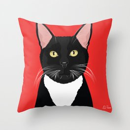 Tuxedo Cat Art Poster by Artist A.Ramos. Designed in Bold Colors. Perfect for Pet Lovers Throw Pillow