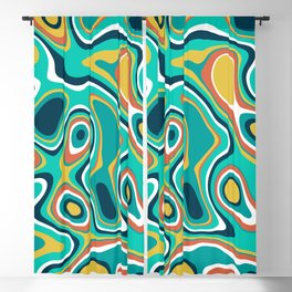 Abstract colorful flowing wavy shapes pattern Blackout Curtain