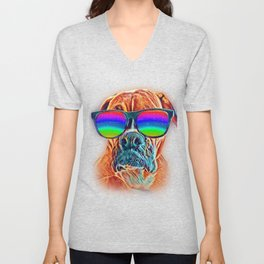 Boxer Colorful Neon Dog Sunglasses Unisex V-Neck
