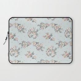 Pastel blue brown pink vintage roses polka dots pattern Laptop Sleeve