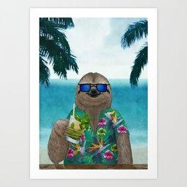 Sloth on summer holidays drinking a mojito Art Print