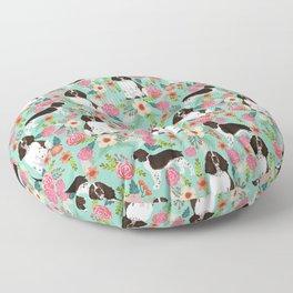 English Springer Spaniel florals cute dog art pet portraits by pet friendly dog breeds Floor Pillow
