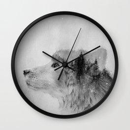 Wolf (B&W) Wall Clock