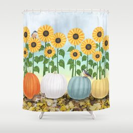 chipmunk, red breasted nuthatches, heirloom pumpkins, & sunflowers Shower Curtain