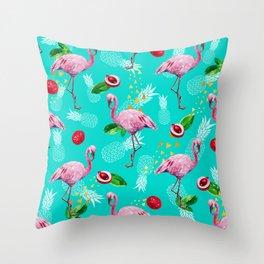 Tropical fruits among flamingos Throw Pillow