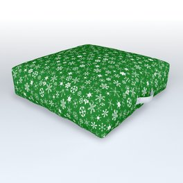 Evergreen Green & White Christmas Snowflakes Outdoor Floor Cushion