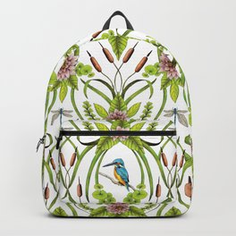 Common Kingfisher, Water Lilies, Dragonflies & Cattails Pattern Backpack