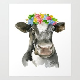 Black and White Cow with Floral Crown Watercolor Painting Art Print