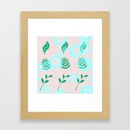 Green leaves with light Framed Art Print