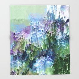 Wild Nature Glitch - Blue, Green, Ultra Violet #nature #homedecor Throw Blanket