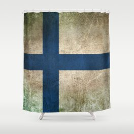Old and Worn Distressed Vintage Flag of Finland Shower Curtain
