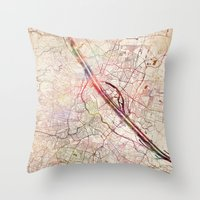 vienna Throw Pillows featuring Vienna by MapMapMaps.Watercolors