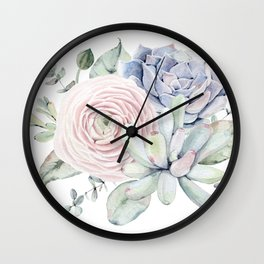 Succulent Blooms Wall Clock