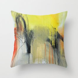 Gold Yellow Abstract Print  Throw Pillow