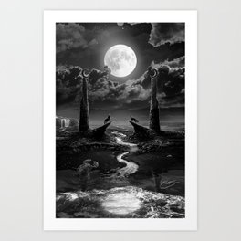 XVIII. The Moon Tarot Card Illustration Art Print