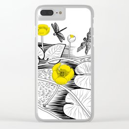 Water-lilies engraving Clear iPhone Case