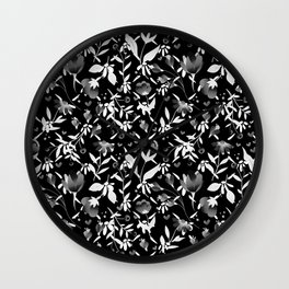 Colourscape Summer Floral Pattern Black and White Wall Clock