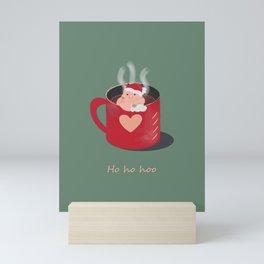 Red Christmas pig  coffee mug  Mini Art Print
