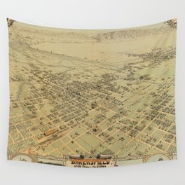 Vintage Pictorial Map of Bakersfield CA (1901) Wall Tapestry