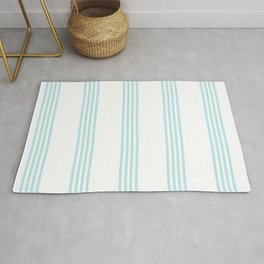 Striped I - Turquoise stripes on white - Beautiful summer pattern Rug
