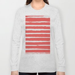 Irregular Hand Painted Stripes Coral Red Long Sleeve T-shirt