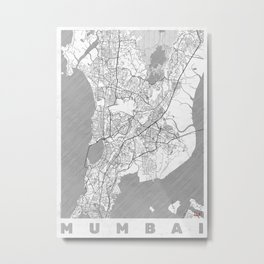 Mumbai Map Line Metal Print