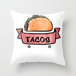 Tacos Fix Everything Mexican Food Foodie Throw Pillow