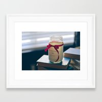 pride and prejudice Framed Art Prints featuring Pride & Prejudice Mason Jar by {she tells stories}