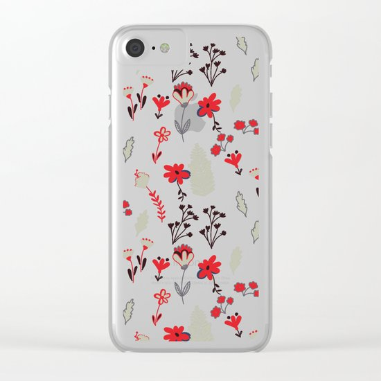 Red Vintage Floral Pattern Clear iPhone Case
