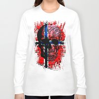 norway Long Sleeve T-shirts featuring Skull circuit (norway-flag) by seb mcnulty