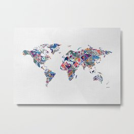 Moroccan Tile Mosaic Pattern World Map Art Metal Print