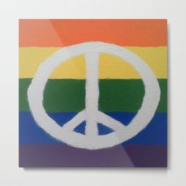 Rainbow Peace Sign Metal Print