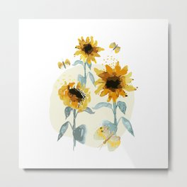Sunflower drawing//Sunflowers watercolor// Sunflower decor Metal Print