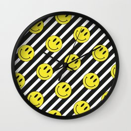 Smiley and Stripes Wall Clock
