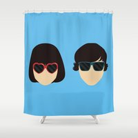 yellow submarine Shower Curtains featuring Submarine by Loverly Prints