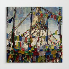 NEPALI PRAYERS CARRIED BY THE WIND FROM FLAGS Wood Wall Art