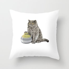 Curling Cat Ice Sports Cat And Curling Lover Gift Throw Pillow
