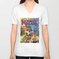 monkey island V-neck T-shirts featuring Monkey Island by idaspark