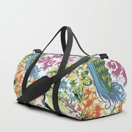 Peacock pixel art Duffle Bag