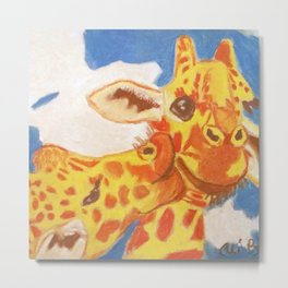 Two Giraffes, One Giraffe is Kissing Another on its Cheek Metal Print