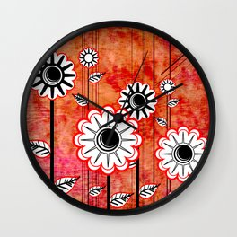 Retro Flowers on textured red Wall Clock