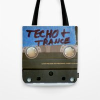 techno Tote Bags featuring TECHNO by The Family Art Project