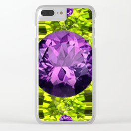 AMETHYST PURPLE  LIME GREEN PERIDOT GEMS BIRTHSTONES Clear iPhone Case