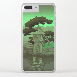 Kawase Hasui Vintage Japanese Woodblock Print Glowing Green Neon Sky Over A Zen Garden Shrine Clear iPhone Case