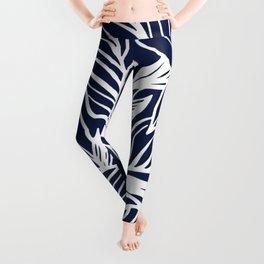 Navy Blue Floral Minimal Leggings