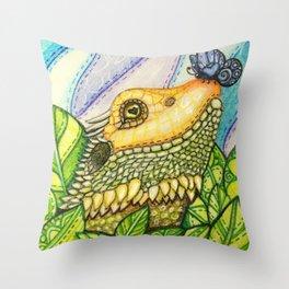 Irene's Bearded Dragon Square Throw Pillow