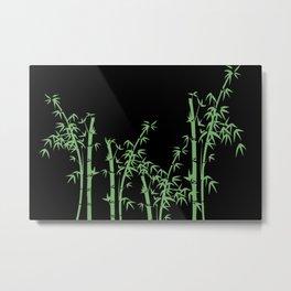 Bamboo design green - black Metal Print