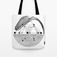 ohm Tote Bags featuring Ohm. by Samuel Guerrero