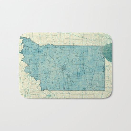 Indiana State Map Blue Vintage Bath Mat